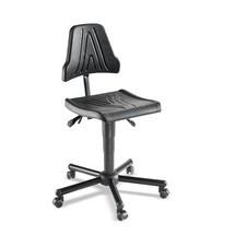 Werkdraaistoel. PU-zitting, hoogte en neiging verstelbaar. Belasting tot 120 kg.