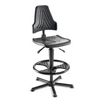 Werkdraaistoel. PU-zitting, hoogte en neiging verstelbaar. Belasting tot 150 kg.