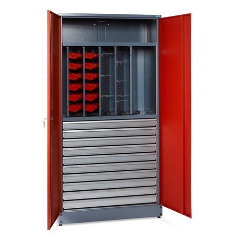Werkplaats scharnierende deurkast met uitschuifbare wanden en lades