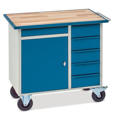 Werkplaatswagen met 1 kast, 5 lades, werkblad beuk in staalframe