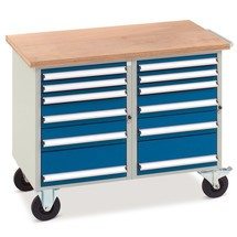 Werkplaatswagen met 2 x 6 lades, werkblad multiplex 40 mm