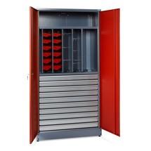Werkstatt-Flügeltürschrank mit ausziehbaren Wänden und Schubladen