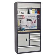 Werkstatt-Rollladenschrank stumpf® mit integrierter Arbeitsplatte + Lochwand + Schubladen