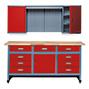 Werkstatt-Set Deister: Werkbank und Hängeschrank in Rot oder Blau.