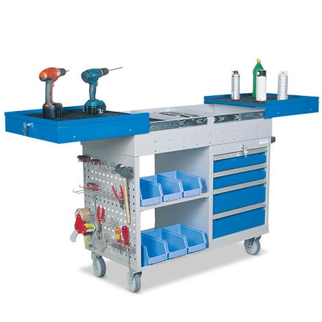 Werkstattwagen. 3 Etagen, ausziehbare Arbeitsfläche, 4 Schubladen