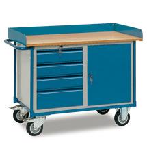 Werkstattwagen fetra®. Hoher Rand, 1 Schrank, 4 Schubladen. Tragkraft 400kg