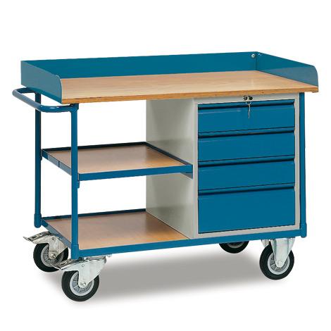 Werkstattwagen fetra®. Hoher Rand, 3 Etagen, 4 Schubladen. Tragkraft 400kg
