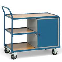 Werkstattwagen fetra® mit 3 Etagen + 1 Schrank. Tragkraft 250 kg