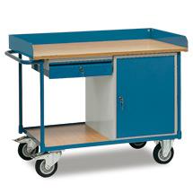 Werkstattwagen fetra® mit Umrandung, 2 Etagen, 1 Schrank + 1 Schublade. TK 400kg