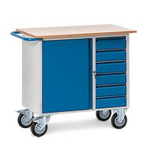 Werkstattwagen fetra®, TK 400kg, 1 Tür, 4 Schubladen, Gewicht 70kg