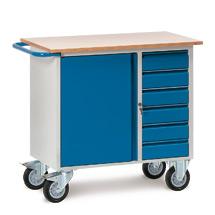 Werkstattwagen fetra®, TK 400kg, 1 Tür, 6 Schubladen, Gewicht 70kg