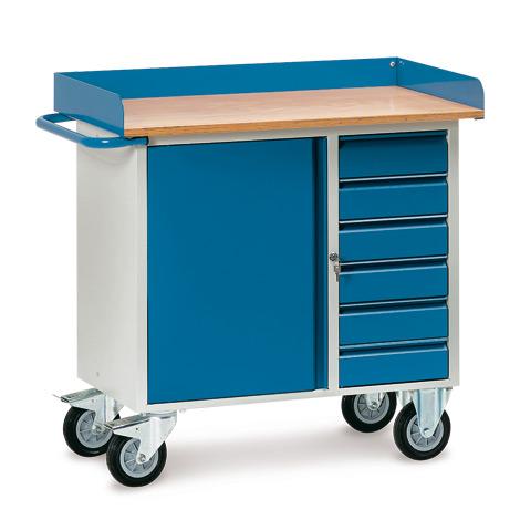 Werkstattwagen fetra®, TK 400kg mit Abrollrand, 1 Tür, 6 Schubladen