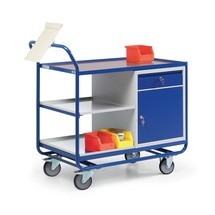 Werkstattwagen, Flügeltürschrank mit Schublade, 3 Ablagen, TK 300 kg