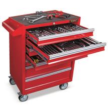 Werkstattwagen-Komplettset inklusive 135-teiligem Werkzeugset. 7 Schubladen