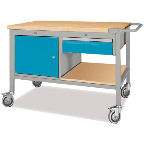 Werkstattwagen mit 1 Schrank + 1 Schublade. Tragkraft 500kg
