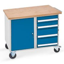 Werkstattwagen mit 1 Schrank, 4 Schubladen, Arbeitsplatte Multiplex 40 mm