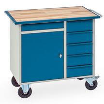Werkstattwagen mit 1 Schrank, 5 Schubladen, Arbeitsplatte Buche im Stahlrahmen