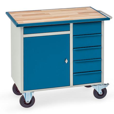 Werkstattwagen mit 1 Schrank, 6 Schubladen, Arbeitsplatte Buche im Stahlrahmen