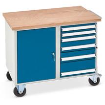 Werkstattwagen mit 1 Schrank, 6 Schubladen, Arbeitsplatte Multiplex 40 mm