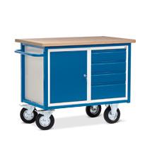Werkstattwagen mit 1 Schrank und 4 Schubladen. Tragkraft 500 kg
