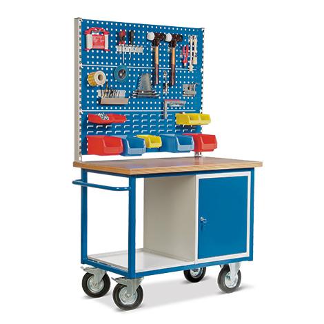 Werkstattwagen mit 2 Lochplatten + 1 Schlitzplatte + Schrank. Tragkraft 500kg