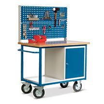 Werkstattwagen mit 2 Lochplatten + Schrank + Ablage. Tragkraft 500 kg
