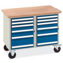 Werkstattwagen mit 2 x 6 Schubladen, Arbeitsplatte Multiplex 40 mm