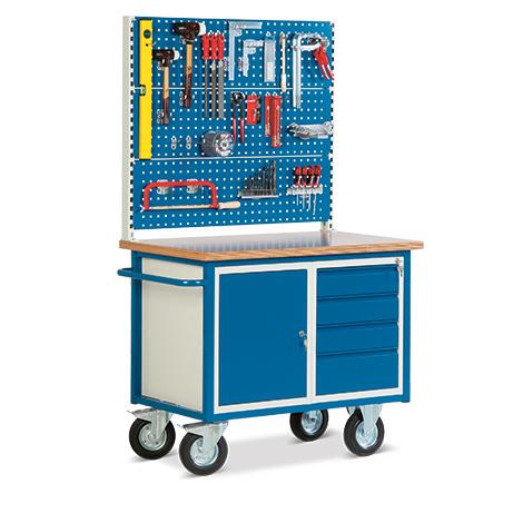 Werkstattwagen mit 3 Lochplatten + Schrank + 4 Schubladen. Tragkraft 500kg