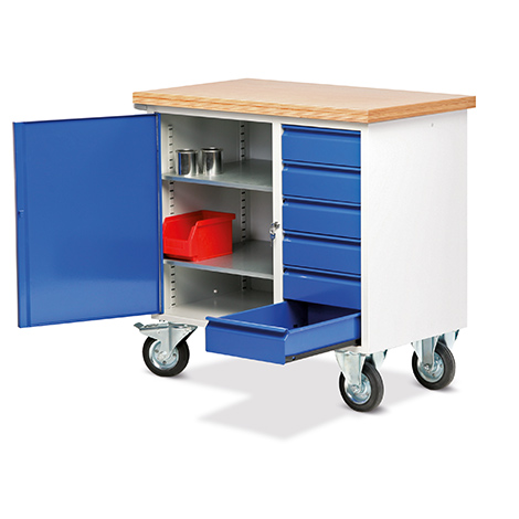 Werkstattwagen mit 6 Schubladen und Schrank. Tragkraft 400 kg