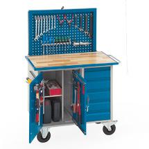 Werkstattwagen mit versenkbarer Werkzeugrückwand, mit 1 Schrank und 5 Schubladen