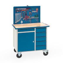 Werkstattwagen mit versenkbarer Werkzeugrückwand, mit 1 Schrank und 6 Schubladen