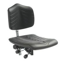 Werkstoel. Gasveer, stalen voetkruis met vloerglijders en voorgevormde PU-zitting (supersoft)