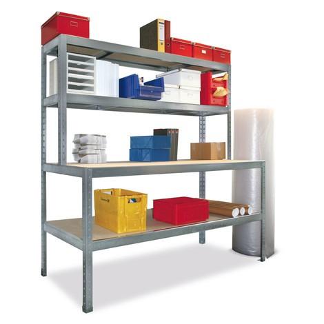 Werktafel met aflegplateau en 2 niveaus. Compleet verzinkt, vaklast tot 400 kg
