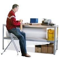 Werktafel META met 2 legborden, capaciteit 800 kg