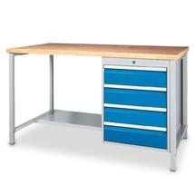 Werktafel tafel met plank en ladeblok