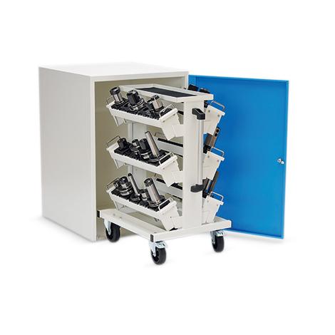 Werkzeugwagen für CNC-Werkzeuge mit beidseitiger Werkzeugbestückung.