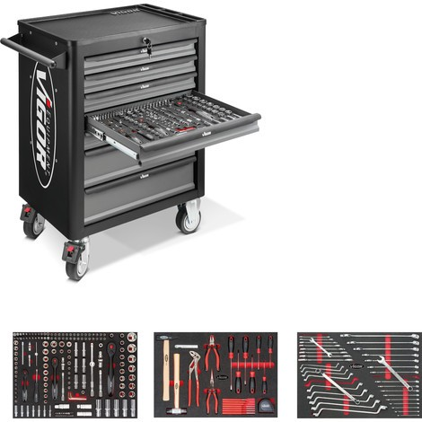 Werkzeugwagen VIGOR® 1000, inkl. Werkzeugsortiment