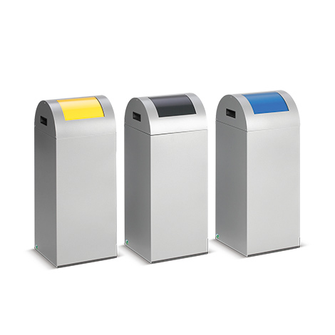 Wertstoff-Sammelbehälter aus Stahlblech. Runddach. 60 Liter, 1-fach