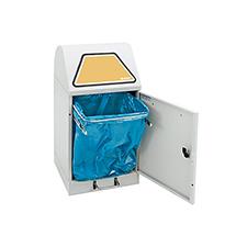 Wertstoff-Sammelbehälter aus verzinktem Stahlblech, fußbetätigt. Bis 120 l