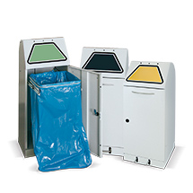 Wertstoff-Sammelbehälter aus verzinktem Stahlblech, handbetätigt. Bis 120 l