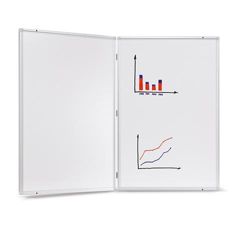 Whiteboard klappbar. Mit 1 Tafelflügel. Größe 900 x 600/1200 mm