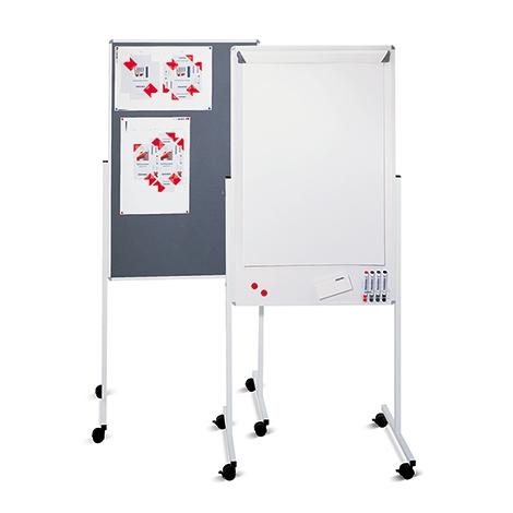 Whiteboard Kombination mit Rollen. Tafelgröße 760 x 1210 mm