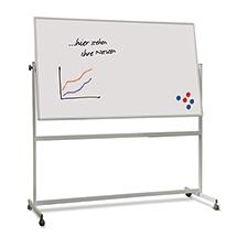 Whiteboard Stativ-Drehtafel, beidseitig emailliert. Größe bis 1000x2000 mm (HxB)
