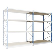 Wide-span rack, with chipboard, add-on unit, sky blue/light grey
