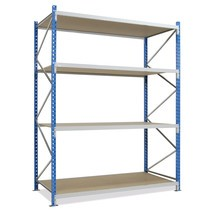 Wide-span rack, with chipboard, base unit, sky blue/light grey