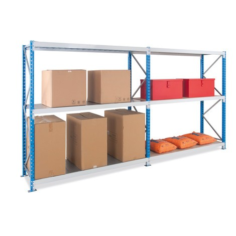 Wide-span rack, with steel panels, add-on unit, sky blue/light grey