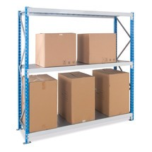 Wide-span rack, with steel panels, base unit, sky blue/light grey