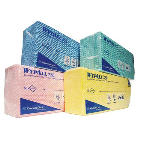 Wischtücher Kimberly Clark® WYPALL X50, interfold, 250x420mm (BxL), Lieferumfang 1 VE mit 6 Packungen (à 50 Wischtücher)