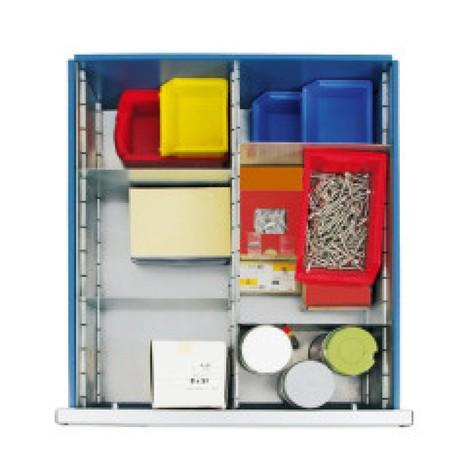 Wkład do szuflad zregulowanym podziałem do szaf zszufladami stumpf® Premium