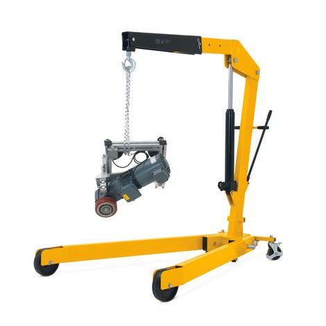 Workshop crane with spread chassis and rapid lift, foldable